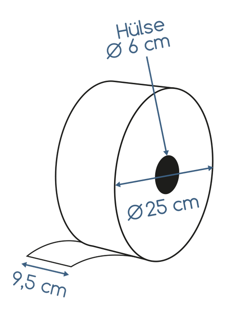 Abmessungen Jumborollen 2 lagig Zellstoff 350m
